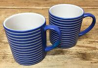 Denby Intro Blue Stripe Cobalt Royal 2 Coffee Mugs White Bands Langley England