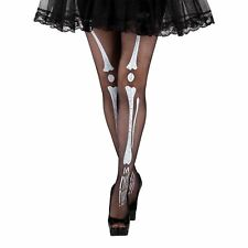 Ladies Black White Bones Day of the Dead Halloween Skeleton Tights Fancy Costume