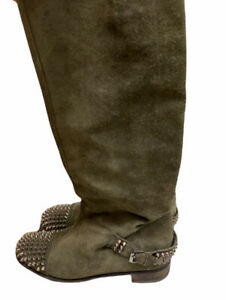 Christian Louboutin Boots Egoutina Knee  Length Military Green Suede  38 US 8