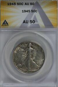 1945   50C ANACS   AU50   Walking Liberty, Lady Liberty Half, 0.50