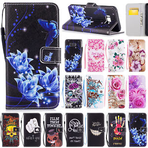 Pattern Leather Wallet Case Stand Cover For Samsung Galaxy S5-S9/Note8-9/J330/A8