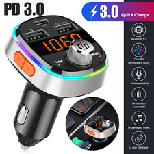 Bluetooth 5.0 FM Transmitter QC3.0 Car Charger 7Color Radio Adapter Handsfree PD