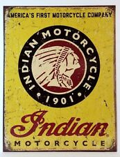 INDIAN MOTORCYCLES SINCE 1901 - COLLECTIBLE TIN METAL SIGN NEW DISTRESSED LOOK