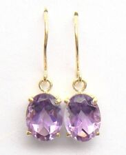 SYJEWELRYEMPIRE GENUINE 10KT YELLOW GOLD OVAL CUT NATURAL AMETHYST EARRINGS E803