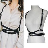 Women Underbust Waist Belt PU Faux Leather Harness Body Bondage Cage Straps S