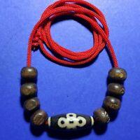 Old Nepal Tibet Ethnic Round Shaped Black Goat Eyed Agate Cabochon Bead V