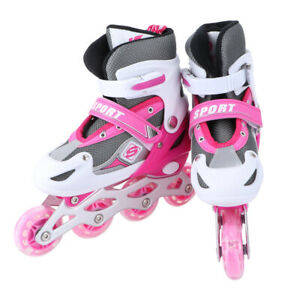 Kinder Inliner Skates Verstellbar Größe 26-41 Mädchen Rollschuhe Blinkende Rosa