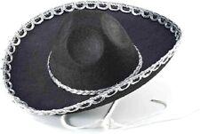 Black Sombrero Mexican Western Mini Brim Hat Adult Costume Accessory