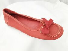 Clarks Active Air Deep Coral Red Leather Flat Slip On Loafers Moccasin Size 5