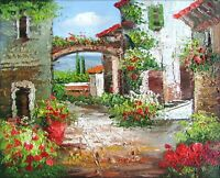 Stretched, Tuscany Italy Landscape-16, Quality Hand Painted Oil Painting 8x10in