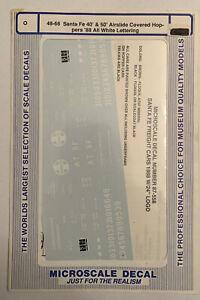 MICROSCALE O DECAL-SANTA FE/ATSF 40'/50' AIRSLIDE COV HOPP -1988 WHITE - #48-66
