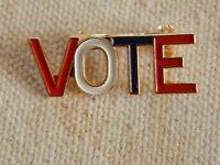 Patriotic VOTE Pin Brooch Lapel Vintage Enamel Red White Blue Campaign Election