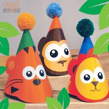 3 X JUNGLE SAFARI Children's Birthday Party Wool Pom Pom Hat Lion Tiger Monkey