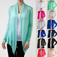 Long Sleeve Cardigan Fly Away Open Draped Regular Plus 20 Colors S ~ 3XL Yoain