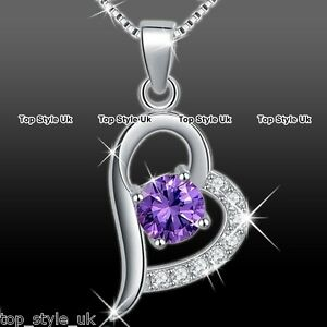 Purple Crystal Silver Heart Necklace Unique Presents for Her Women Girls Wife A1