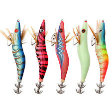 "5Pcs Luminous Squid Jigs 3.0# Saltwater Fishing Lures Squid Jig Hooks 4.76"" 15g"