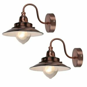 Pair of Modern Fishermans Style Wall Light Lamp in Antique Copper