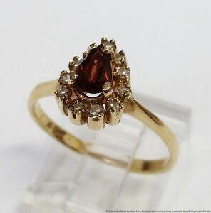 Vintage Pear Cut Garnet Genuine Diamond Halo 14k Gold Ladies Ring Size 7