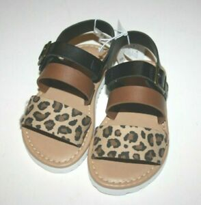 Old Navy Toddler Baby Girls Cheetah Print Shoes Size 7 Sandals Buckle NWT