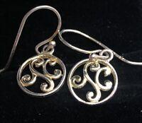 Vintage Sterling Silver Earrings 925 Gold Tone Hoops Dangle