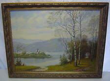 Old J Rosendorf Original Oil Canvas Painting Austria Lake Maria Worth Worthersee