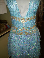 PF Sky Blue / Gold Beaded Prom Special Occasion Evening Dance Dress #8644 S: 2