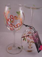 2 Hand-Painted Yoga Girl Wine Glasses