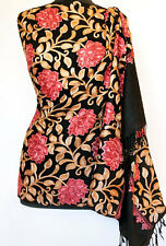 Red Crewel Embroidered Roses on Black Wool Shawl Kashmir Ari Embroidery Pashmina
