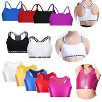 Girls Bra Tops Stretchy Crop Top Dance Yoga Sport Gym Straps Cami Tanks Vest Top