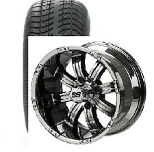 Set of (4) ITP 14 Black Chrome Mirror Golf Cart Car Rim Wheels & Tires Mounted