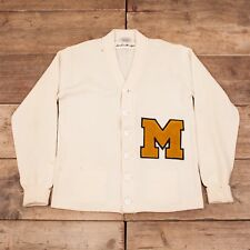 "Mens Vintage Dehen 50s Cream Wool Varsity Cardigan Sweater USA Medium 40"" HA183"