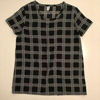 Old Navy Black/White Plaid Lightweight Short Sleeve Blouse - Women's Size XS EUC