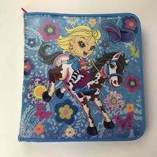 Lisa Frank 3 Ring Zipper Zipped Binder Blue Cowgirl Pony Flowers Horse