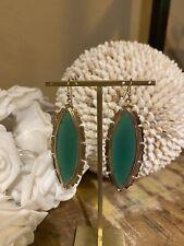 Kendra Scott Rare Translucent Marquis Green Glass Joelle Large Earrings. HTF