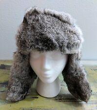 Mad Bomber Rabbit Fur Trapper Aviator Hat Ear Flaps Unisex Size M Black EUC