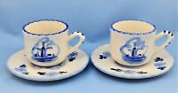 VINTAGE DELFT BLUE HOLLAND CERAMIC 2 TEA CUPS AND SAUCERS SET
