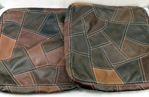 """Set 2 Vintage Real Leather Patchwork Heavy Pillow Covers 17x17x2.75"""" Boho Hippie"""
