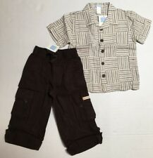 NWT Janie & Jack 4 4T Natural Safari Roll Cuff Brown Linen Pants & Dobby Shirt