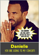 Craig David Concert Tour Tickets Seats Present Birthday Card A5 Any Wording