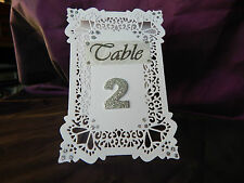 HANDMADE Wedding or Party Table Number Cards Pack of 8 Printed/ glitter numbers