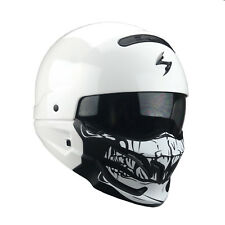 Scorpion EXO Combat Motorcycle Helmet System Jet With Removable Chin Part L White