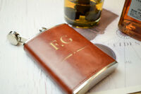 Personalised Steel + PU Leather Effect 8oz Hip Flask Engraving