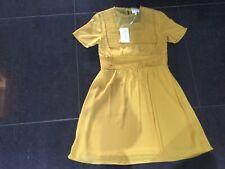 NWT Foxiedox Ladies Small UK 8/10 Mustard Yellow Short Sleeved Dress FA477DR