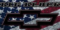Big Block CHEVROLET Chevy Racing Logo Garage Shop Vinyl Banner Sign 2 x 4'