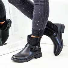 New Womens Ankle Boots Studs Buckle Comfy Low Heel Zip Flat Ladies Shoes Sizes