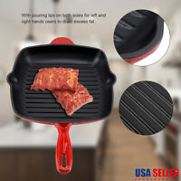 """11"""" Square Cast Iron Skillet Grill Frying Pan Griddle Pre Seasoned Camping Oven"""
