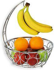 Fruit Basket Bowl with Banana Tree Hanger, Chrome Finish