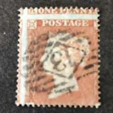 *GREAT BRITAIN, SCOTT # 8,1p. VALUE RED BROWN ON BLUE PAPER 1854 Q.V ISSUE USED