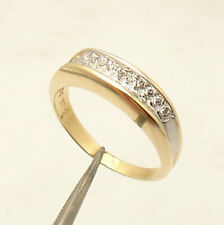 Size 7.5 Concaved In CZ Stone Set Band Ring Solid Real 14K Yellow White Gold