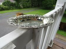 VINTAGE SILVERPLATED PIERCED FLORAL JEWLERY OVAL TRINKET DISH~~JAPAN